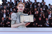 """Emily Beecham, winner of the Best Actress award for her role in """"Little Joe"""" attends thephotocall for Palme D'Or Winner during the 72nd annual Cannes Film Festival on May 25, 2019 in Cannes, France."""