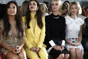 Ashley Park, Victoria Justice, Nicky Hilton and guest are seen during the Pamella Roland fashion show at Pier 59 on February 07, 2019 in New York City.