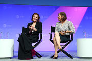 (L-R) Geena Davis and Mayim Bialik speak onstage during 'The Scully Effect - I Want to Believe in STEM' panel at AT&T SHAPE at Warner Bros. Studios on June 22, 2019 in Burbank, California.