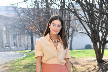 Paola Alberdi Salvatore Ferragamo - Arrivals - Milan Fashion Week Fall/Winter 2020/2021