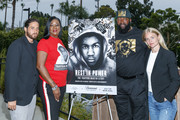"Jenner Furst, Sybrina Fulton, Tracy Martin and Julia Willoughby Nason pose for a photo at ""Rest In Power: The Trayvon Martin Story"" Screening on July 26, 2018 in Venice, California."