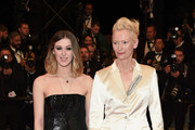 """Tilda Swinton and her daughter Honor Swinton Byrne attend the screening of """"Parasite"""" during the 72nd annual Cannes Film Festival on May 21, 2019 in Cannes, France."""
