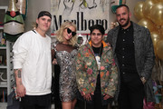 (L-R) Chris Zylka, Paris Hilton, Moj Mahdara, and Jonathon Burford attend the Paris Hilton X Beautycon Festival NYC Pre-Party on April 20, 2018 in New York City.