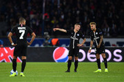 Marco Verratti, Neymar of Paris Saint-Germain and Kylian Mbappe of Paris Saint-Germain looks dejected after Napoli's second goal during the Group C match of the UEFA Champions League between Paris Saint-Germain and SSC Napoli at Parc des Princes on October 24, 2018 in Paris, France.