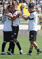 Hernan Crespo (C) of Parma FC celebrates his goal with Emilov Valeri Bojinov (L) and Davide Lanzafame during the Serie A match between Parma FC and AS Livorno Calcio at Stadio Ennio Tardini on May 16, 2010 in Parma, Italy.