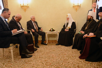 Patriarch Kirill Palestinian President Mahmoud Abbas In Moscow
