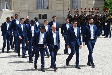 Patrice Evra French President Francois Hollande Receives France Soccer Team At Elysee Palace in Paris