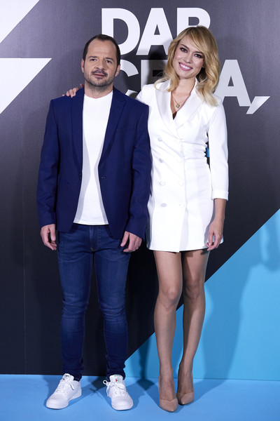 'Dar Cera, Pulir #0' Movistar Presentation [clothing,suit,fashion,premiere,footwear,event,formal wear,electric blue,outerwear,white-collar worker,patricia conde,angel martin attend,dar cera pulir 0,movistar presentation,movistar presentation at the mediapro studio on may 30,madrid,spain]