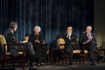 Paul A. Volcker Janet Yellen Attends Panel Discussion In New York City