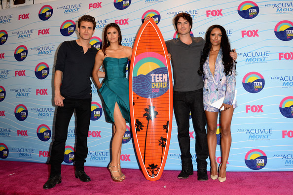 Paul Wesley (L-R) Actors Paul Wesley, Nina Dobrev and Ian Somerhalder, winners of Choice Fantasy/Sci-Fi Show award, and singer Kat Graham pose in the press room during the 2012 Teen Choice Awards at Gibson Amphitheatre on July 22, 2012 in Universal City, California.
