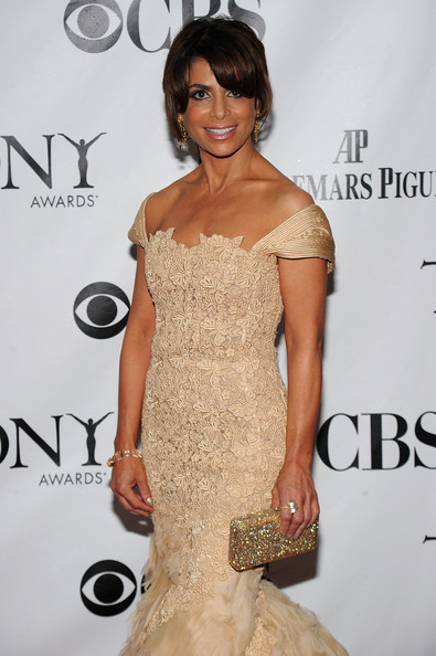 64th Annual Tony Awards - Arrivals [dress,shoulder,clothing,hair,fashion model,cocktail dress,hairstyle,fashion,beauty,strapless dress,arrivals,paula abdul,tony awards,new york city,radio city music hall,64th annual tony awards]