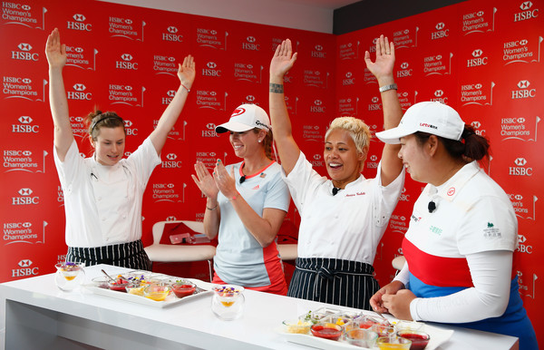 HSBC Women's Champions - Day Two [cook,chef,chief cook,cooking show,cooking,cuisine,chefs uniform,hsbc womens champions,hsbc hexagon suite,united states,china,sentosa golf club,renee miller,monica galetti,r,shanshan feng,paula creamer]