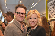 Actress Megan Hilty (R) and Brian Gallagher celebrate the launch of Jennifer Love Hewitt's new maternity line, 'L By Jennifer Love Hewitt' at A Pea In The Pod on April 1, 2014 in Beverly Hills, California.
