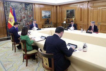 Pedro Sanchez King Felipe Of Spain And President Pedro Sanchez Meet Technical Management Committee of Coronavirus