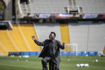 Pele Soccer Legend Pele Visits Olympic Stadium in Barcelona