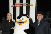 CEO of DreamWorks Animation Jeffrey Katzenberg (L) and Jim Gianopulos attend 'Penguins Of Madagascar' New York premiere at Winter Village at Bryant Park Ice Rink on November 16, 2014 in New York City.