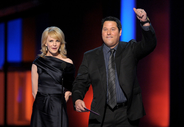 Presenters Kathryn Morris (L) and Greg Grunberg speak onstage during the People's Choice Awards 2010 held at Nokia Theatre L.A. Live on January 6, 2010 in Los Angeles, California.