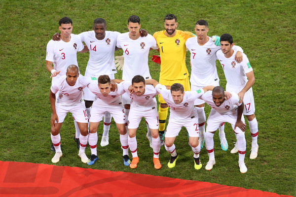 Uruguay v Portugal: Round of 16 - 2018 FIFA World Cup Russia [team,soccer player,football player,team sport,player,social group,tournament,ball game,sport venue,competition event,team photo,portugal,russia,uruguay,fisht stadium,sochi,round,2018 fifa world cup,match]