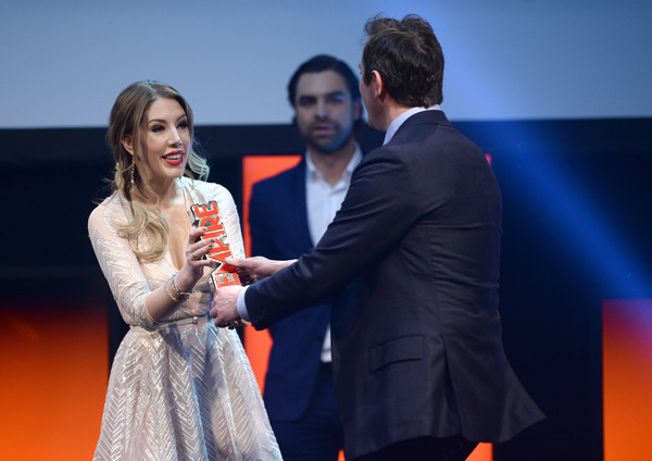 Jameson Empire Awards 2016 - Awards Show [best comedy film for spy,red,yellow,event,fashion,award,performance,dress,suit,conversation,competition,katherine ryan,peter serafinowicz,jameson empire awards 2016 - awards show,award,stage,grosvenor house hotel,england,london]