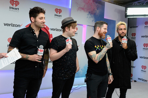 2015 iHeartRadio Music Festival - Night 2 - Backstage [event,technology,games,recreation,joe trohman,patrick stump,andy hurley,peter wentz,fall out boy,backstage,l-r,mgm grand garden arena,las vegas,iheartradio music festival]