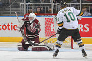 Scott Smith #35 of the Peterborough Petes gets set to stop a shot against the London Knights in an OHL game at Budweiser Gardens on December 14, 2014 in London, Ontario, Canada. The Knights defeated the Petes 5-2.