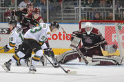 Mitchell Marner #93 of the London Knights gets set to fire a shot past Scott Smith #35 of the Peterborough Petes in an OHL game at Budweiser Gardens on December 14, 2014 in London, Ontario, Canada. The Knights defeated the Petes 5-2.