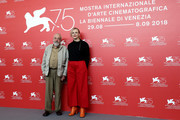 Mike Leigh and Maxine Peake attend 'Peterloo' photocall during the 75th Venice Film Festival at Sala Casino on September 1, 2018 in Venice, Italy.