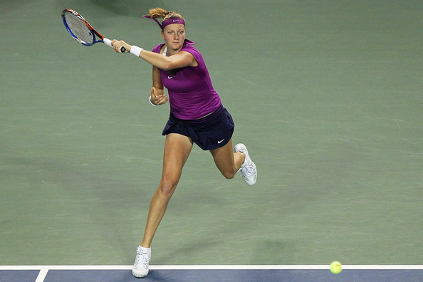 Petra Kvitova Petra Kvitova of the Czech Republic plays a forehand in her match against Maria Sharapova of Russia during the day five of the Toray Pan Pacific Open at Ariake Colosseum on September 29, 2011 in Tokyo, Japan.
