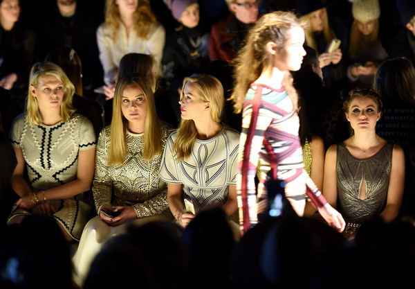 Herve Leger by Max Azria - Front Row - Fall 2016 New York Fashion Week: The Shows [shows,people,audience,fashion,event,performance,crowd,fun,fashion design,stage,max azria,sami gayle,petra nemcova,abbie cornish,front row,l-r,herve leger,new york fashion week,fashion show]
