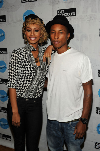 "Pharrell Williams Singer Keri Hilson and recording artist Pharrell Williams attend ""The Get Schooled National Challenge & Tour"" at Martin Luther King High School on September 24, 2010 in New York City."