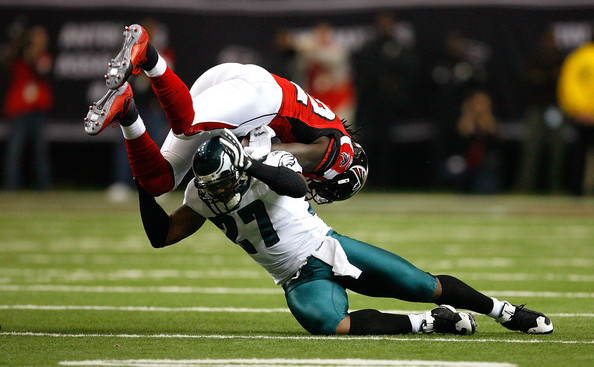 Quintin Mikell shows his tackling skills against the Atlanta Falcons