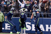 Tight end Jimmy Graham #88 of the Seattle Seahawks celebrates his touchdown against the Philadelphia Eagles at CenturyLink Field on November 20, 2016 in Seattle, Washington.
