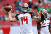 Ryan Fitzpatrick #14 of the Tampa Bay Buccaneers throws a pass during warm ups prior to the game against the Philadelphia Eagles at Raymond James Stadium on September 16, 2018 in Tampa, Florida.