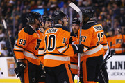 Jakub Voracek #93 is congratulated by Brayden Schenn #10, Wayne Simmonds #17, and Claude Giroux #28 of the Philadelphia Flyers after scoring a goal in the 2nd period against the Boston Bruins at TD Garden on March 7, 2015 in Boston, Massachusetts.