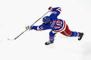 Marc Staal #18 of the New York Rangers takes the shot in warm-ups prior to the game against the Philadelphia Flyers at Madison Square Garden on January 16, 2018 in New York City.