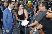 Max Pacioretty (L) #67 of the Vegas Golden Knights takes photos with fans as he arrives at the team's home opener against the Philadelphia Flyers at T-Mobile Arena on October 04, 2018 in Las Vegas, Nevada.
