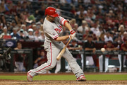 Daniel Nava #25 of the Philadelphia Phillies bats against the Arizona Diamondbacks during the MLB game at Chase Field on June 25, 2017 in Phoenix, Arizona.  The Diamondbacks defeated the Phillies 2-1 in 11 innings.
