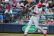 Ryan Howard #6 of the Philadelphia Phillies hits a second inning double against the Atlanta Braves at Turner Field on July 30, 2016 in Atlanta, Georgia.