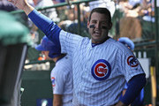 Anthony Rizzo #44 of the Chicago Cubs is congratulated in the dugout after hitting a solo home run in the 4th inning against the Philadelphia Phillies at Wrigley Field on June 7, 2018 in Chicago, Illinois.