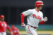 Daniel Nava #25 of the Philadelphia Phillies rounds the bases after a solo home run in the first inning of the game against the Cincinnati Reds at Great American Ball Park on April 6, 2017 in Cincinnati, Ohio.