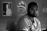 Image has been converted to black and white.) Andres Blanco #4 of the Philadelphia Phillies looks on during a game against the Miami Marlins at Marlins Park on September 22, 2015 in Miami, Florida.