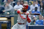 Andres Blanco #4 of the Philadelphia Phillies swings at a pitch in the eighth inning against the Milwaukee Brewers at Miller Park on April 24, 2016 in Milwaukee, Wisconsin.