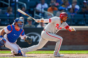 Andres Blanco #4 of the Philadelphia Phillies follows through on a sixth inning RBI single against the New York Mets at Citi Field on September 4, 2017 in the Flushing neighborhood of the Queens borough of New York City.