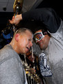 Alex Rodriguez #13 and Melky Cabrera of the New York Yankees celebrate in the locker room with the trophy after their 7-3 win against the Philadelphia Phillies in Game Six of the 2009 MLB World Series at Yankee Stadium on November 4, 2009 in the Bronx borough of New York City.