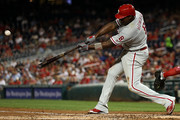 Ryan Howard #6 of the Philadelphia Phillies his a three run home run during the third inning against the Washington Nationals at Nationals Park on September 8, 2016 in Washington, DC.