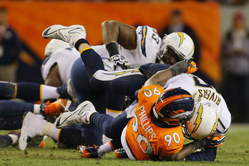Philip Rivers Shaun Phillips Divisional Playoffs - San Diego Chargers v Denver Broncos