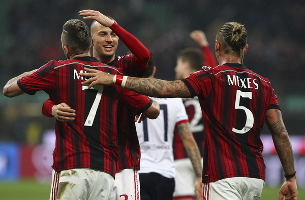 AC Milan v Cagliari Calcio - Serie A [sports,player,team sport,football player,soccer player,ball game,sports equipment,team,soccer,youth,ac milan,cagliari calcio,serie a,milan,l,r,c,jeremy menez,luca antonelli,philippe mexes]