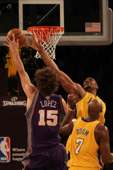 Robin Lopez Andrew Bynum Phoenix Suns v Los Angeles Lakers, Game 5
