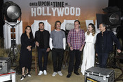 """(L-R) Producer Shannon McIntosh, Leonardo DiCaprio, Brad Pitt, director Quentin Tarantino, Margot Robbie and producer David Heyman attend the photo call for Columbia Pictures' """"Once Upon A Time In Hollywood"""" at Four Seasons Hotel Los Angeles at Beverly Hills on July 11, 2019 in Los Angeles, California."""