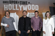 """(L-R) Brad Pitt, Leonardo DiCaprio, director Quentin Tarantino and Margot Robbie attend the photo call for Columbia Pictures' """"Once Upon A Time In Hollywood"""" at Four Seasons Hotel Los Angeles at Beverly Hills on July 11, 2019 in Los Angeles, California."""